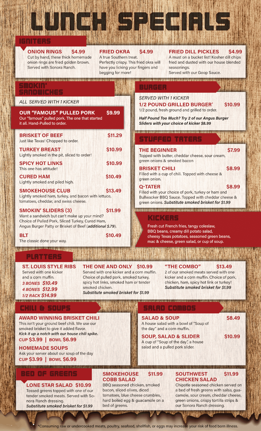 Hole in the Wall Barbecue Lunch Menu