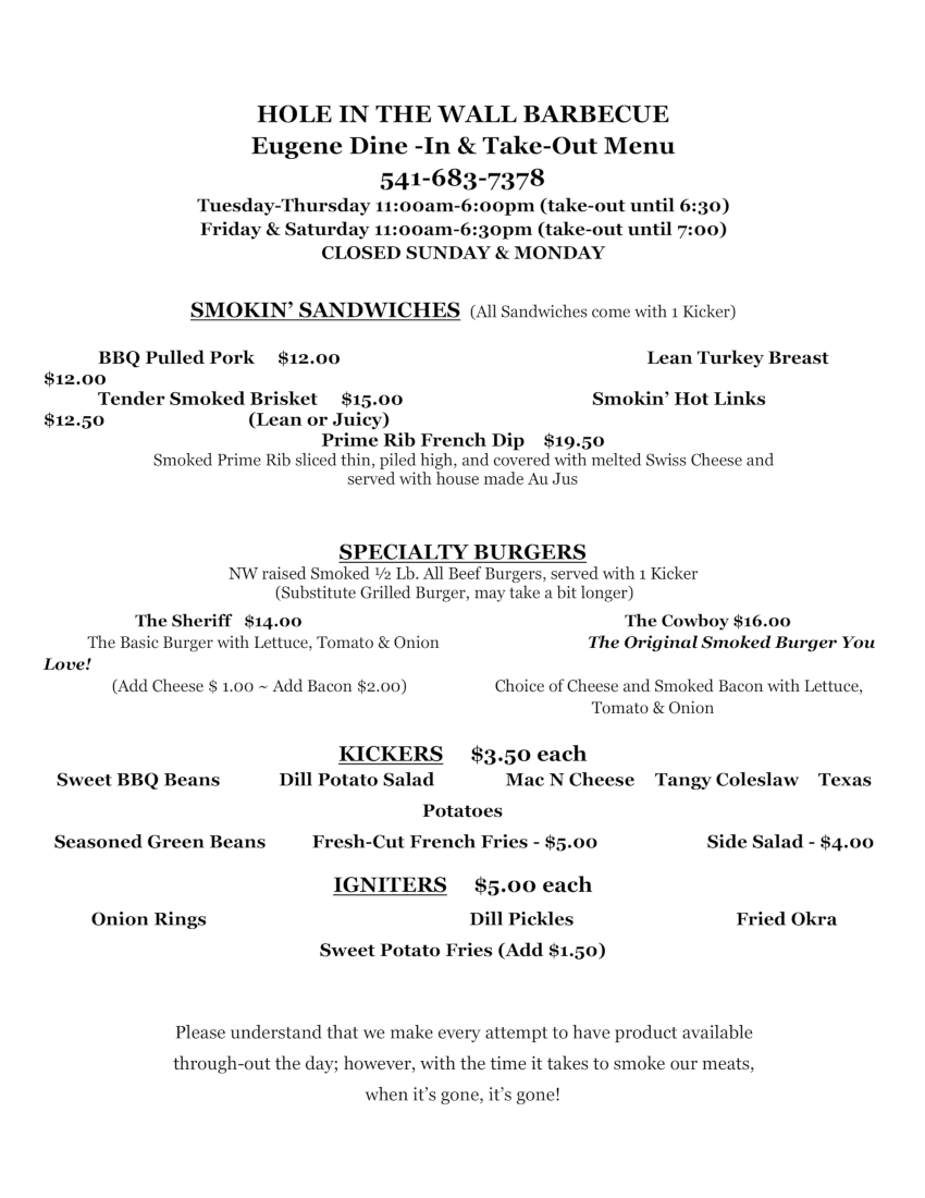Eugene Dine-In and Take-Out Menu Page 1